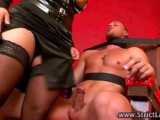Restrained femdom dude