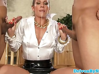 Cocsucking femdom babe facialized in mmf trio