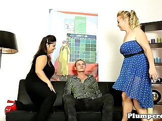Busty femdom plumpers submits guy in trio
