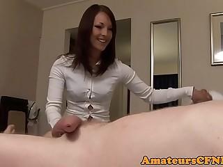 British CFNM femdom tugging and sucking cock