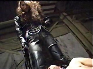 asian femdom full leather pants and jacket trampling ball kicking with long fetish boots