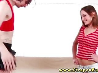 Rough harsh femdom babes spank sissy boy