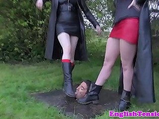 British femdoms humiliating subject outdoors
