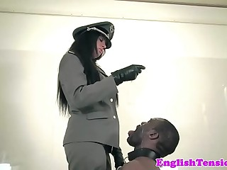 Rough femdom punishes black submissive