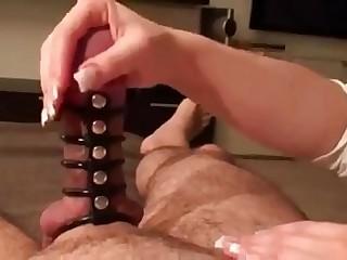 Femdom Diana milks my packed up dick