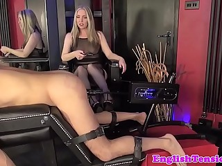 Rough femdom punishes sub with dildo machine