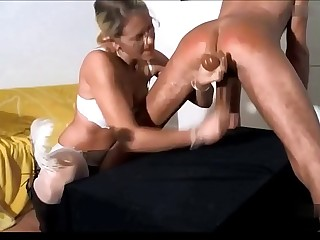 Crazy german mistress milking her slave handjob