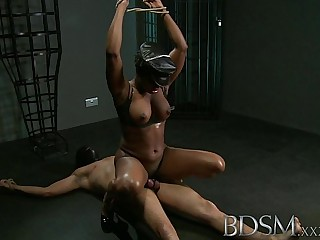 BDSM XXX Caged slave boy gets hardcore treatment from his powerful and horny Mistress