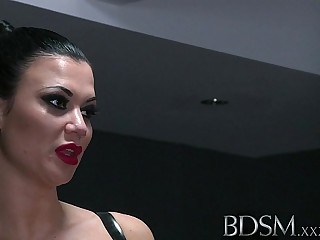 BDSM XXX Silent hooded slave boy receives brutal treatment from gorgeous Dominant Mistress