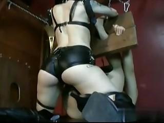 Strapon mistress and bound slave