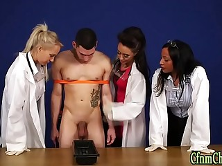 Clothed mistress blow