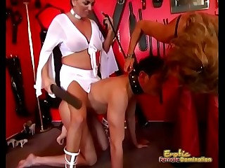 Mistress Tag Team Group Up For Male Sub