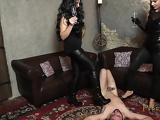 Our Human Ashtray - Lady G and Mistress Pandora Humiliate Cat Guy