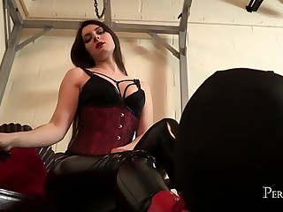 Worship Your Mistress - Ria Harpsichord allows slave lick her shiny boots