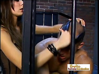 Stunning Mistress Vanessa Dominates A Slave In Jail