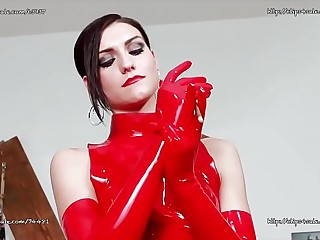 Sexy Italian Mistress in Red Latex