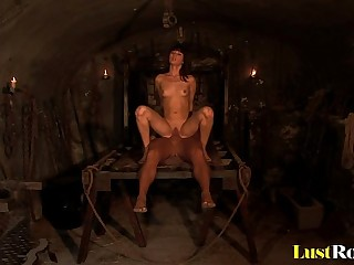 Dungeon mistress Theodora Ferreri fucks her slave