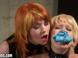 Redhead Mistress Irony training her new petite slave