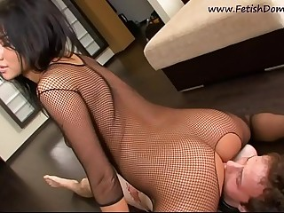 Hot goddess in fishnet lingerie femdom pussy licking and ass worship.