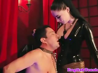 Smoking femdom mistress dominates with feet