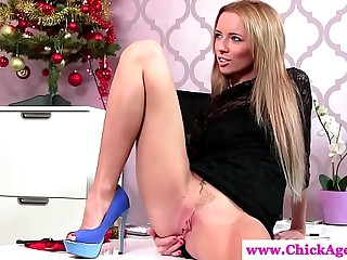 Femdom gives guy foot and hand job