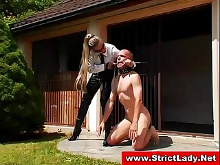 Femdom mistress gets a bondage encounter with some guy on a leash