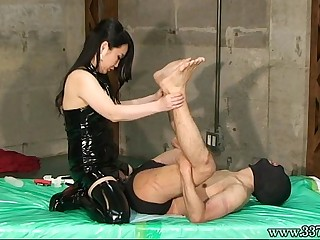 Japanese Femdom Slave Hanging and Strapon Anal