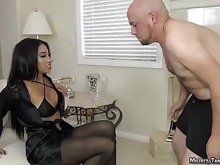Mistress Tangent femdom ballbusting and foot worship